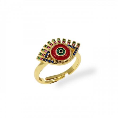 Δαχτυλίδι μπρούτζινο μάτι με κόκκινο σμάλτο & ζιργκόν