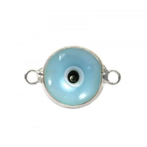 Μάτι murano με 2 κρικάκια από ασήμι 925 σε θαλασσί χρώμα-ανα τεμάχιο