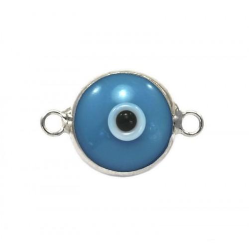Μάτι murano με 2 κρικάκια από ασήμι 925 σε τυρκουάζ χρώμα-ανα τεμάχιο