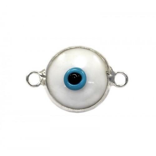 Μάτι murano με 2 κρικάκια από ασήμι 925 σε λευκό χρώμα-ανα τεμάχιο