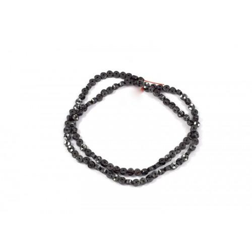 Αιματίτης (Hematite) περαστός μίνι 2X4mm σε μαύρο χρώμα και σχήμα  ντονατ κυματιστό.Ανα τεμάχιο