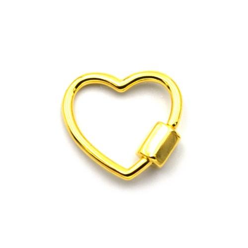 Ορειχάλκινο κούμπωμα λουκέτο καρδιά επιχρυσωμένο 24κ - τιμή ανά τεμάχιο