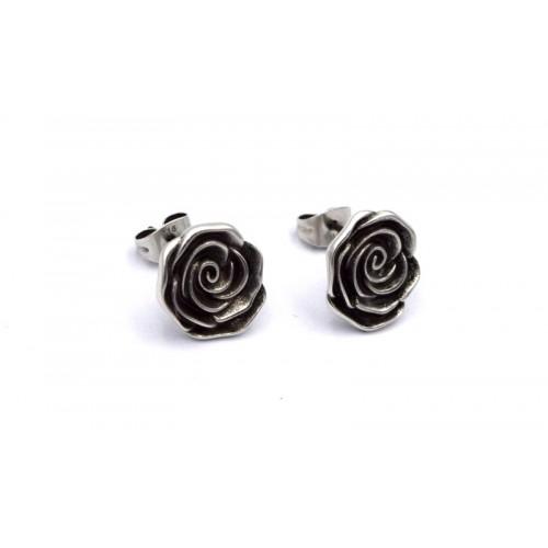 Σκουλαρίκια τριαντάφυλλο σε ασημί αντικέ-ανα ζευγαρι(τα κουμπωματα περιλαμβάνονται)