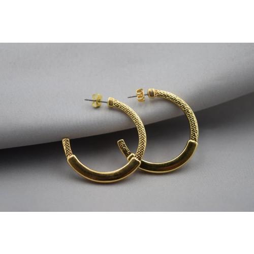 Σκουλαρίκια κρίκος 40mm με pattern καρφί τιτανίου επιχρυσωμένα 24κ - τιμή ανά ζευγάρι