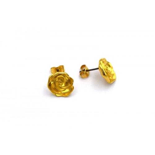 Σκουλαρίκια τριαντάφυλλο σε επίχρυσο-αν ζευγάρι(τα κουμπώματα περιλαμβάνονται)