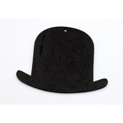 Ξύλινο μεσαίο καπέλο σε μαύρο χρώμα-ανα τεμάχιο