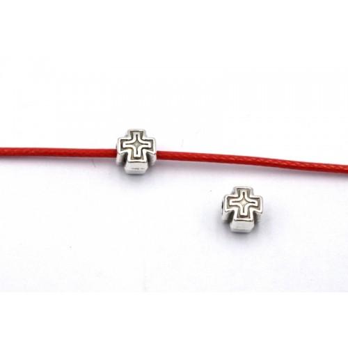 Μεταλλική χάντρα,περαστός σταυρός 6mm (Ø2.2mm) σε ασημί αντικέ τιμή ανα τεμάχιο