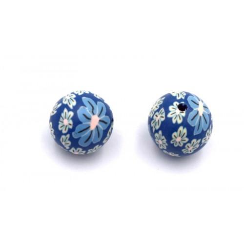 Χάντρα φίμο ±18mm σε μπλε με λουλουδάκια-ανά τεμάχιο
