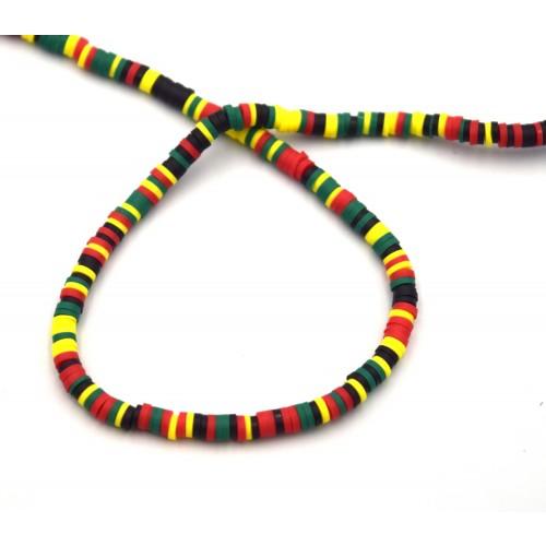 Χάντρες ροδέλες καουτσούκ 4mm σε πολύχρωμο σκούρο - τιμή ανά σειρά (40 cm)
