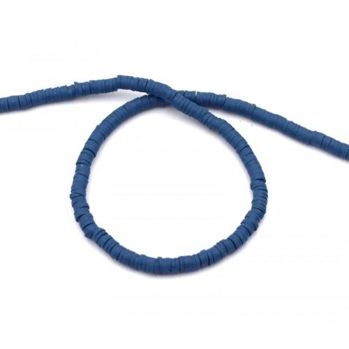 Χάντρες ροδέλες καουτσούκ 4mm σε μπλε ντενιμ-Τιμή ανα σειρα (40cm)