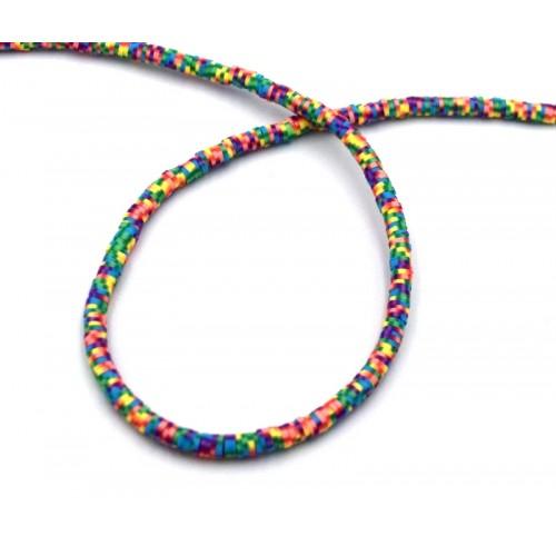 Χάντρες ροδέλες καουτσούκ 4mm πολύχρωμες σε rainbow light Τιμή ανα σειρα (40cm)