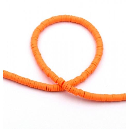 Χάντρες ροδέλες καουτσούκ 4mm σε πορτοκαλί-Τιμή ανα σειρα (40cm)