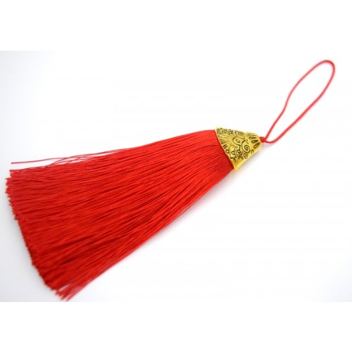 Φούντα χοντρή με χρυσαφί καπελάκι 9cm σε κόκκινο χρώμα τιμή ανα τεμάχιο