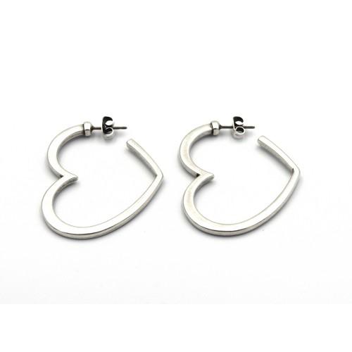 Σκουλαρίκια καρδιά σε ασημί αντικέ - τιμή ανά ζευγάρι