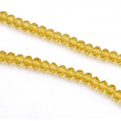 Ροδέλες κρύσταλλο 4x6mm σε κίτρινο ημιδιάφανο-ανά σειρά