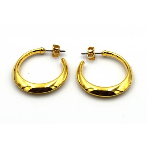 Σκουλαρίκι κρίκος στενός επιχρυσωμένος (24k) - τιμή ανά ζευγάρι