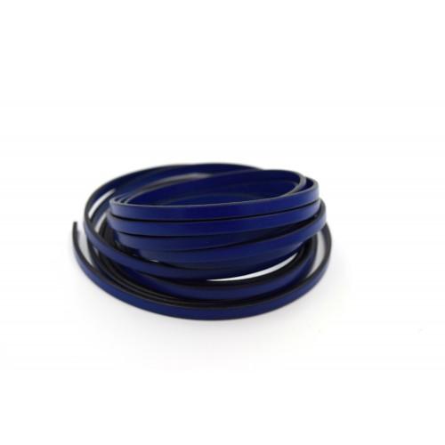 Πλακέ φυσικό δέρμα στενό 5x2mm σε μπλε χρώμα τιμή ανά μισό μέτρο