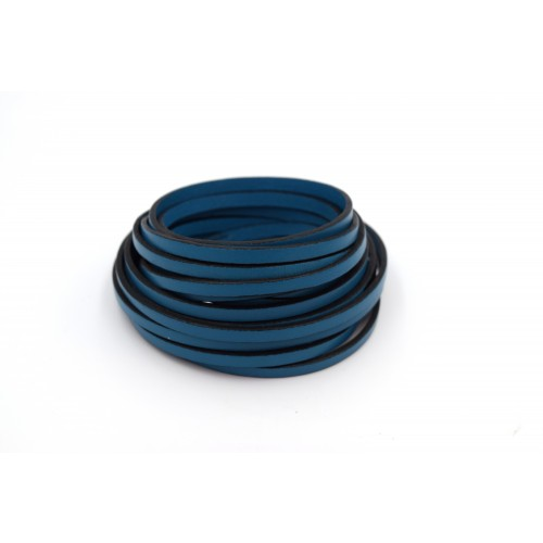 Πλακέ φυσικό δέρμα στενό 5x2mm σε deep teal χρώμα τιμή ανά μισό μέτρο