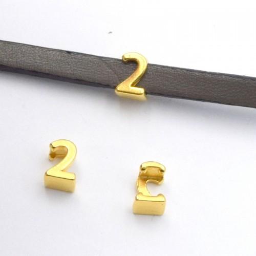 Αριθμός 2 περαστό grip-it για πλακέ κορδόνι 5x2.5mm επίχρυσο- ανά τεμάχιο