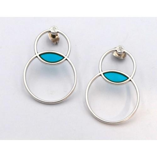 Σκουλαρίκια 2 κύκλοι περίγραμμα Βιτρώ με καρφί τιτανίου σε ασημί αντικέ με τυρκουάζ-ανά ζευγάρι