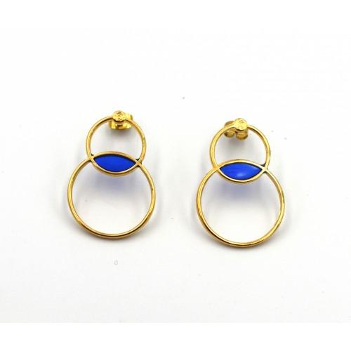 Σκουλαρίκια 2 κύκλοι περίγραμμα Βιτρώ με καρφί τιτανίου επίχρυσα με μπλε - ανά ζευγάρι