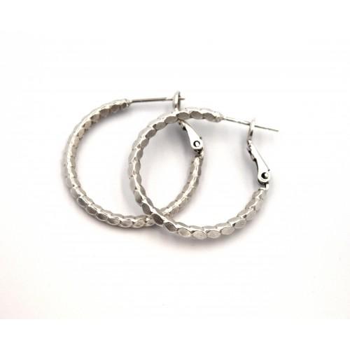 Σκουλαρίκια κρίκος ουρά δράκου 27mm σε ασημί αντικέ καρφί inox - ανά ζευγάρι