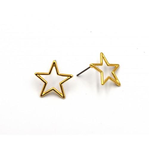 Σκουλαρίκια αστέρι περίγραμμα με καρφί τιτανίου επιχρυσωμένα 24κ - ανά ζευγάρι(τα κουμπώματα δεν συμπεριλαμβάνονται)