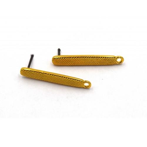 Σκουλαρίκια στικ σαγρέ 1 κρικάκι επιχρυσωμένα 24κ - ανά ζευγάρι (τα κουμπώματα δεν συμπεριλαμβάνονται)
