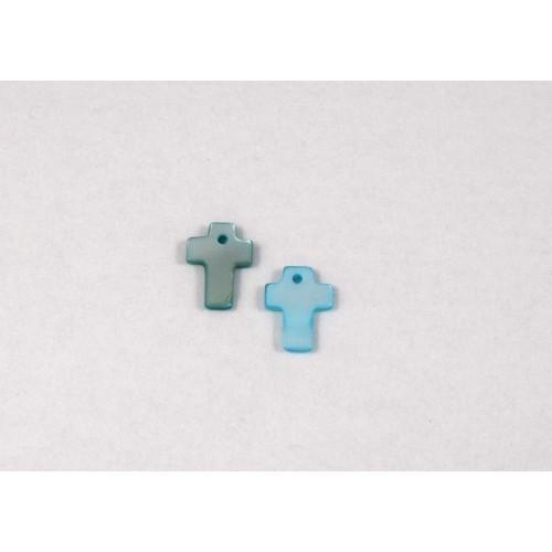 Φιλντισι σταυρός 13X10mm κρεμαστός σε γαλάζιο χρώμα.Ανα τεμάχιο