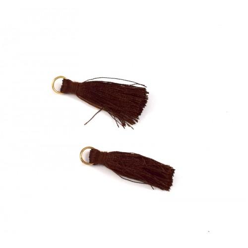Φούντα 30-35mm σε σκούρο καφέ χρώμα με χρυσαφί κρικάκι  Τιμή ανα τεμάχιο