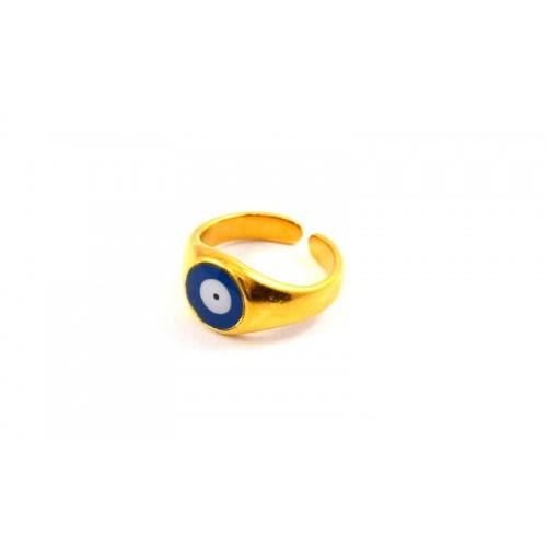 Δαχτυλίδι-μάτι με μπλε σμάλτο επίχρυσο-ανα τεμάχιο
