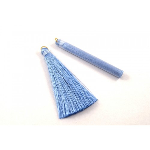 Φούντα μεταξωτή 65mm με χρυσαφί κρίκο σε γαλάζιο χρώμα-ανα τεμάχιο