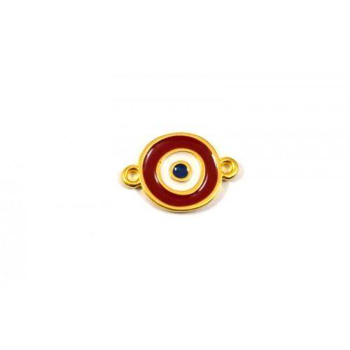 Μοτίφ μάτι 14mm με 2 κρικάκια επίχρυσο (24Κ) με κόκκινο σμάλτο-ανα τεμάχιο