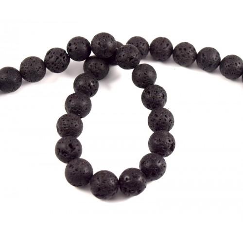 Φυσικές πέτρες χάντρα λάβα 14mm σε μαύρο -ανα χάντρα