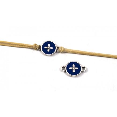 Στρογγυλό μοτίφ με σταυρό με 2 κρικάκια ασημί αντικέ με μπλε σμάλτο-ανα τεμάχιο
