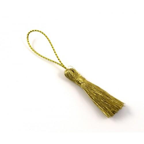 Φούντα με κορδόνι που ιριδίζει σε χρυσό σκούρο χρώμα-ανα τεμάχιο
