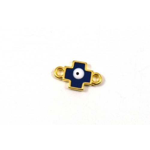 Μικρός,σταυρός τετραγωνισμένος 13mm με 2 κρικάκια επίχρυσος με μπλε σμάλτο-μάτι τιμή ανα τεμάχιο