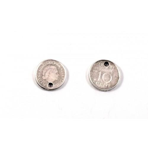 """Νόμισμα """"NEDERLAND 10 CENTS""""14 mm με μια τρύπα ,ασημί αντικέ(φλουρί) -τιμή ανα τεμάχιο"""