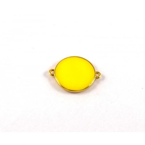 Στρογγυλό 19mm μοτίφ 2 κρικάκια με σμάλτο  κίτρινο φλούο  σε επίχρυσο-ανα τεμάχιο