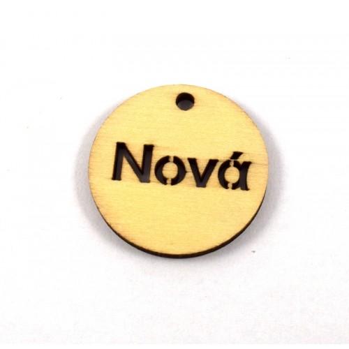 Στρογγυλό ξύλινο κρεμαστό 4cm που γράφει Νονά-ανα τεμάχιο