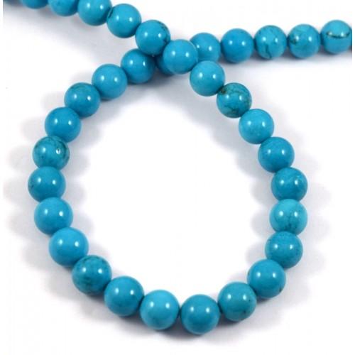 Τυρκουάζ (Turquoise) σε χρώμα τυρκουάζ και σχήμα στρογγυλό 10mm.-τιμή ανα χάντρα