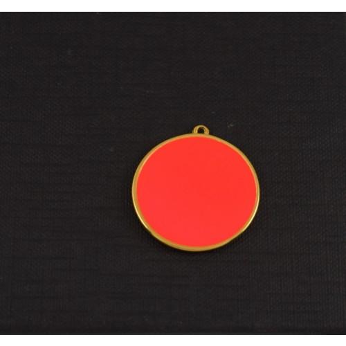 Στρογγυλό 30mm μοτίφ κρεμαστό με σμάλτοφούξια φλούο σε επίχρυσο-ανα τεμάχιο