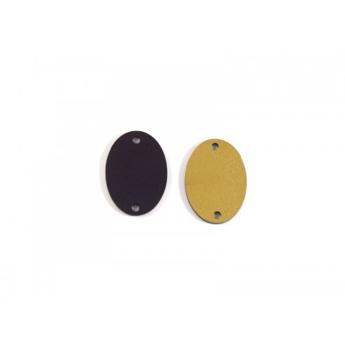 Οβάλ 25x19mm διπλής όψεως (μαύρο και χρυσαφί) με δύο τρυπες-ανα τεμάχιο