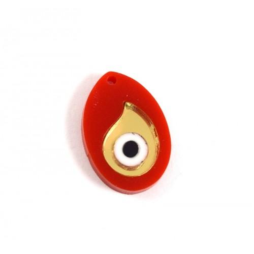 Κρεμαστό αυγό-μάτι  από πλέξι-γκλας σε κόκκινο και χρυσαφί καθρέφτη