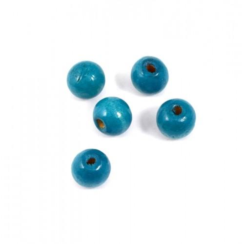 Στρογγυλή ξύλινη χάντρα 12mm σε γαλάζιο σκούρο χρώμα-τιμή ανα τεμάχιο