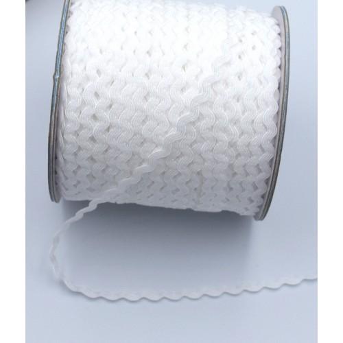 Κορδελάκι ζικ-ζακ 3mm σε λευκό χρώμα.  τιμή ανα μετρο