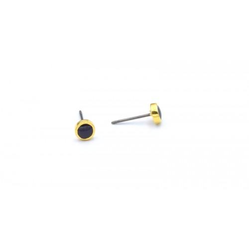Σκουλαρίκι 6mm επίχρυσο (24Κ) καρφί τιτανίου και μαύρο σμάλτο-τιμή ανα ζευγάρι(τα κουμπώματα δεν περιλαμβάνονται)