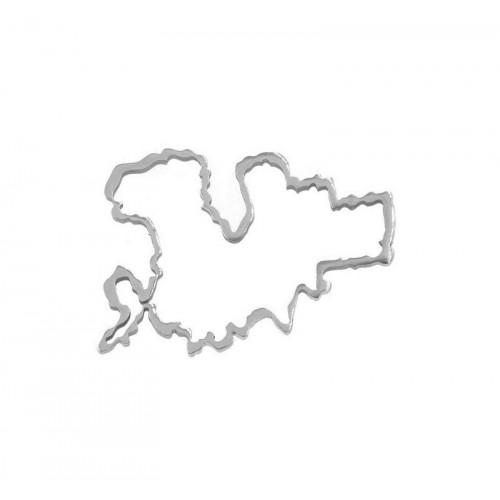 Μικρό περίγραμμα από ατσάλι Μύκονος 15x20mm σε ασημί-ανά τεμάχιο