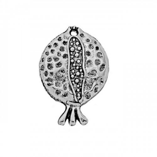 Γούρι διακοσμητικό κρεμαστό ρόδι επάργυρο σε ασημί αντικέ - ανά τεμάχιο