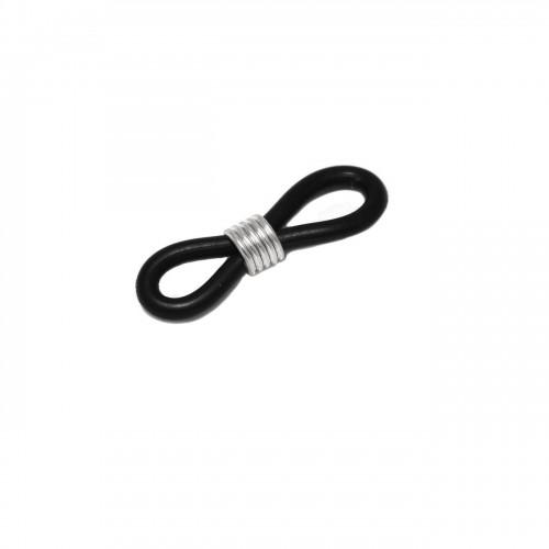 Λαστιχάκι Γυαλιών Σιλικόνης 18mm με Ελατήριο μαύρο ατσάλινο - τιμή ανά τεμάχιο